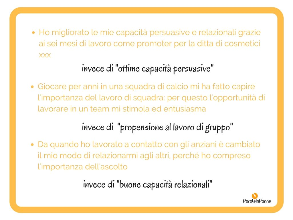 curriculum competenze comunicative cosa scrivere